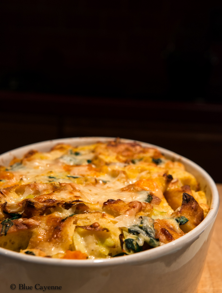 Savory Bread Pudding with Sautéed Leeks and Butternut Squash